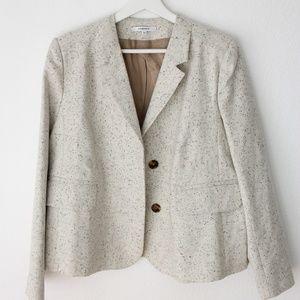 Carven Ivory Speckled Wool Boxy Blazer Jacket